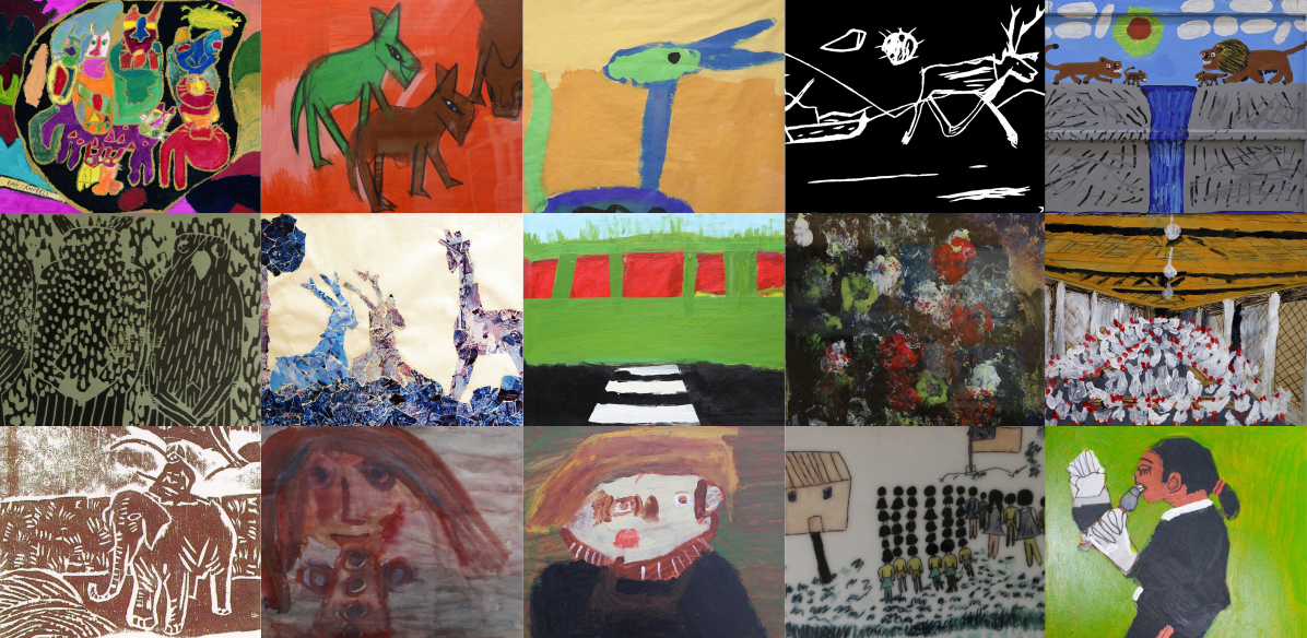 Collage of images from the International Collection of Art by people with DD