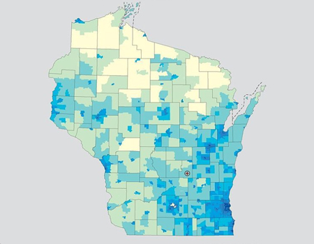 Wisconsin outline map