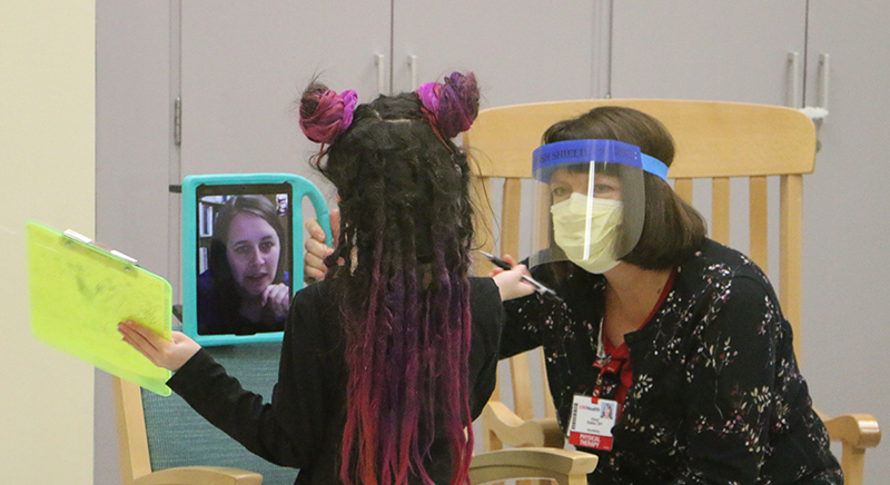 Charlotte Sundy works with onsite therapist and Abygail Marx Via Telehealth