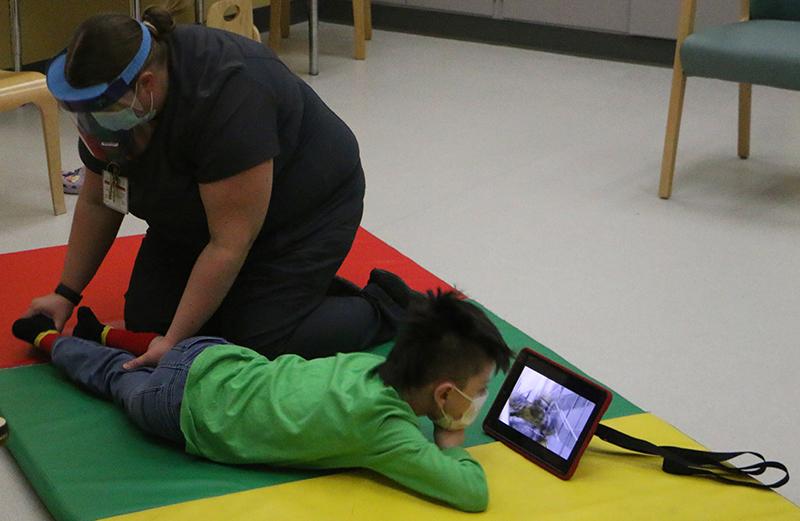 Sebastian Sundly receives therapy at the Waisman Center cerebral palsy clinic